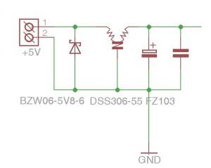 Obr. 2 - Úprava vstupu s transilem a filtrem