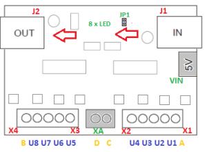 Obr. 2 - Rozmístění připojovacích konektorů modulu DIGI-CZ 210