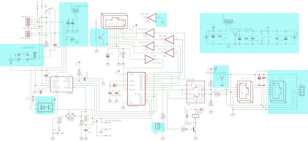 Obr.2 - Schema řídící a výkonové části centrály