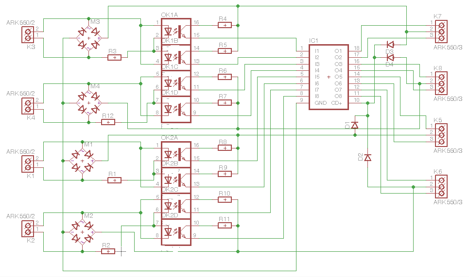 Obr. 2 Schéma zapojení čtyřnásobného obvodu